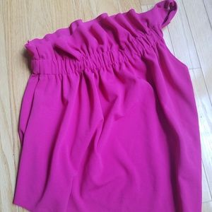 Zara pink one shoulder ruffle top